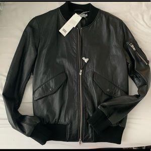 Vince black leather lamb skin bomber jacket